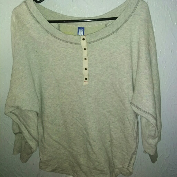 Free People Tops - New Free People M Sweatshirt Gray Henley Top